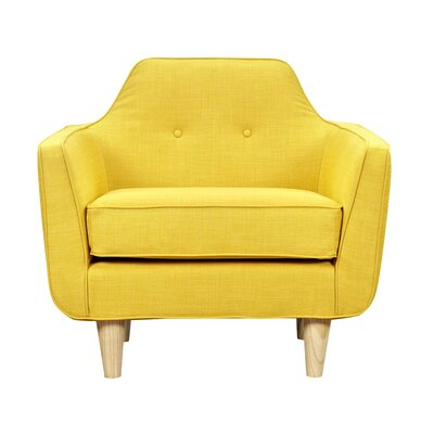 Agna Armchair Upholstery: Papaya Yellow, Finish: Natural