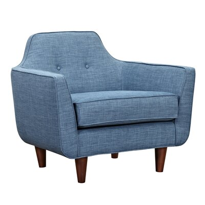 Agna Arm Chair Upholstery: Stone Blue, Finish: Walnut
