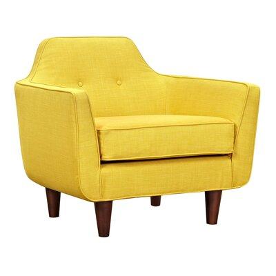 Agna Armchair Upholstery: Papaya Yellow, Finish: Walnut