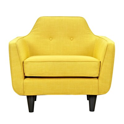 Agna Armchair Upholstery: Papaya Yellow, Finish: Black