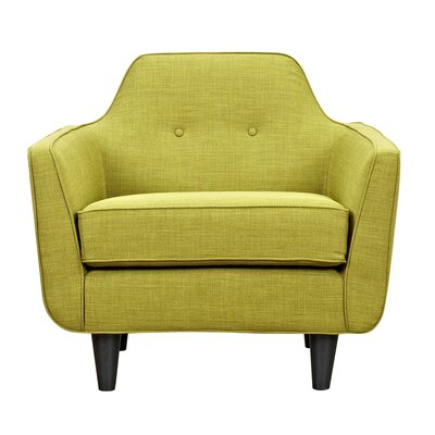 Agna Arm Chair Upholstery: Avocado Green, Finish: Black