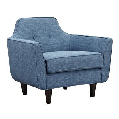 Agna Arm Chair Upholstery: Stone Blue, Finish: Black