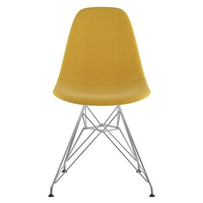 Eiffel Side Chair Upholstery: Papaya Yellow, Finish: Brushed Nickel