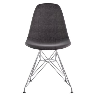 Eiffel Side Chair Upholstery: Charcoal Gray, Finish: Brushed Nickel