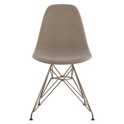 Eiffel Side Chair Upholstery: Light Sand, Finish: Brushed Brass