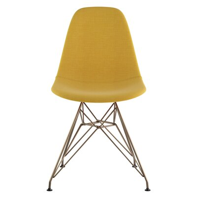 Eiffel Side Chair Upholstery: Papaya Yellow, Finish: Brushed Brass