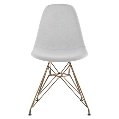 Eiffel Side Chair Upholstery: Glacier White, Finish: Brushed Brass