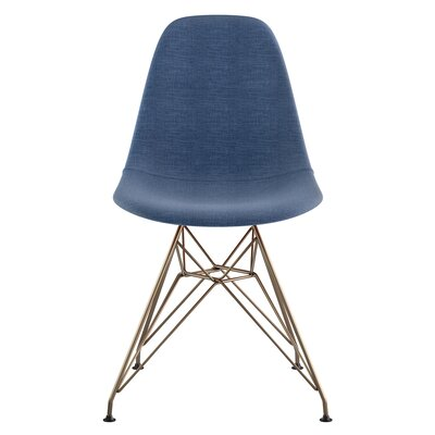 Eiffel Side Chair Upholstery: Dodger Blue, Finish: Brushed Brass