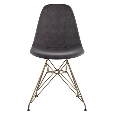 Eiffel Side Chair Upholstery: Charcoal Gray, Finish: Brushed Brass