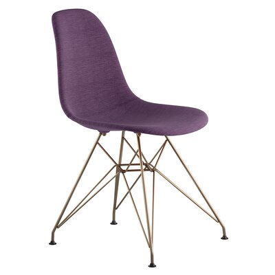 Eiffel Side Chair Upholstery: Plum Purple, Finish: Brushed Brass