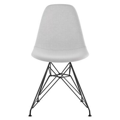 Eiffel Side Chair Upholstery: Glacier White, Finish: Brushed Gunmetal