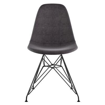 Eiffel Side Chair Upholstery: Charcoal Gray, Finish: Brushed Gunmetal