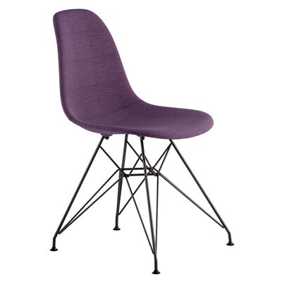 Eiffel Side Chair Upholstery: Plum Purple, Finish: Brushed Gunmetal