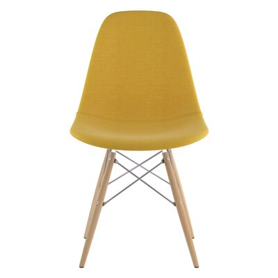 Dowel Side Chair Upholstery: Papaya Yellow, Finish: Natural