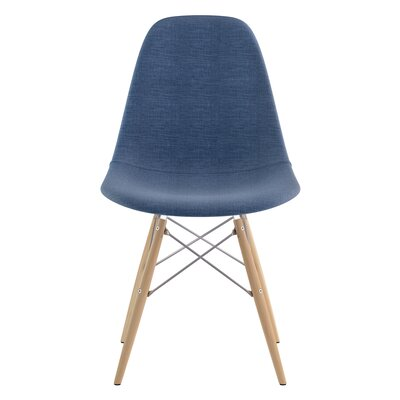 Dowel Side Chair Upholstery: Dodger Blue, Finish: Natural