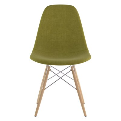 Dowel Side Chair Upholstery: Avocado Green, Finish: Natural