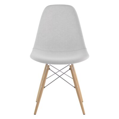 Dowel Side Chair Upholstery: Glacier White, Finish: Natural