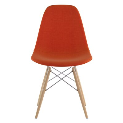 Dowel Side Chair Upholstery: Lava Red, Finish: Natural