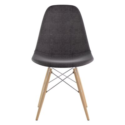 Dowel Side Chair Upholstery: Charcoal Gray, Finish: Natural