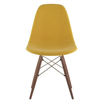 Dowel Side Chair Upholstery: Papaya Yellow, Finish: Walnut