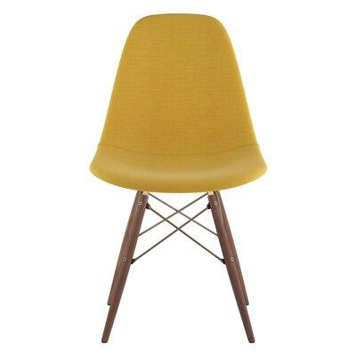 Dowel Side Chair Upholstery: Papaya Yellow, Finish: Walnut