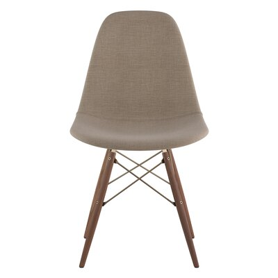 Dowel Side Chair Upholstery: Light Sand, Finish: Walnut