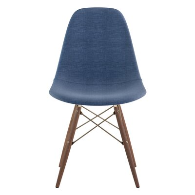 Dowel Side Chair Upholstery: Dodger Blue, Finish: Walnut