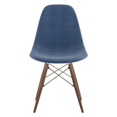 Dowel Side Chair Upholstery: Dodger Blue, Finish: Walnut