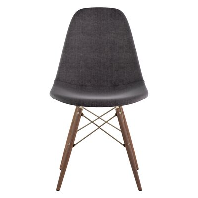 Dowel Side Chair Upholstery: Charcoal Gray, Finish: Walnut