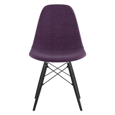 Dowel Side Chair Upholstery: Plum Purple, Finish: Black