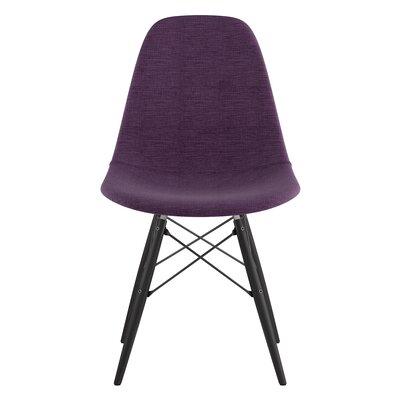 Dowel Side Chair Upholstery: Plum Purple, Finish: Black