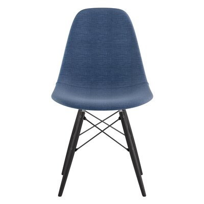 Dowel Side Chair Upholstery: Dodger Blue, Finish: Black
