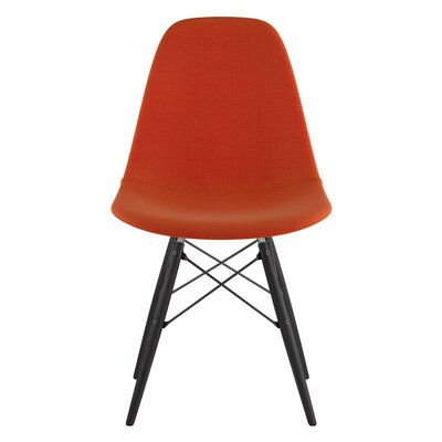 Dowel Side Chair Upholstery: Lava Red, Finish: Black