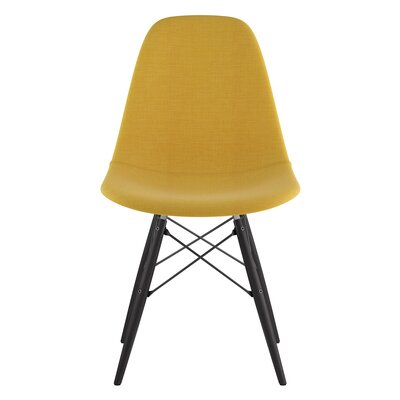 Dowel Side Chair Upholstery: Papaya Yellow, Finish: Black