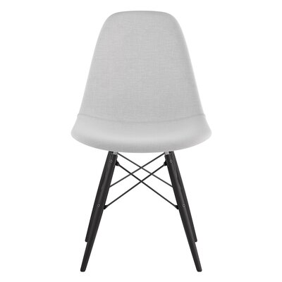 Dowel Side Chair Upholstery: Glacier White, Finish: Black