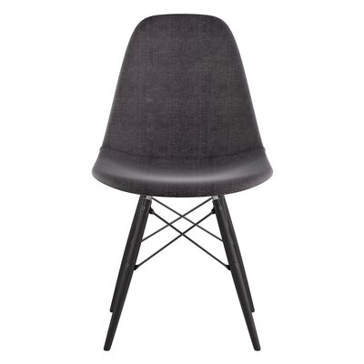 Dowel Side Chair Upholstery: Charcoal Gray, Finish: Black