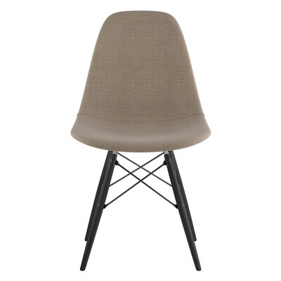 Dowel Side Chair Upholstery: Light Sand, Finish: Black
