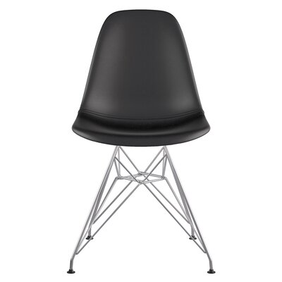 Eiffel Genuine Leather Upholstered Dining Chair Upholstery: Milano Black, Finish: Nickel