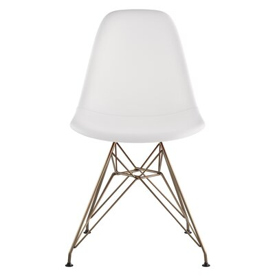 Eiffel Genuine Leather Upholstered Dining Chair Finish: Brass/Gunmetal, Upholstery: Milano White
