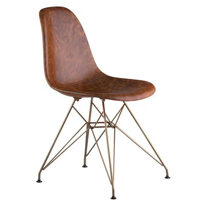 Eiffel Genuine Leather Upholstered Dining Chair Finish: Brass, Upholstery: Weathered Whiskey