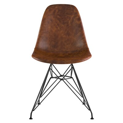 Eiffel Genuine Leather Upholstered Dining Chair Upholstery: Weathered Whiskey, Finish: Brass/Gunmetal