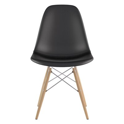 Dowel Genuine Leather Upholstered Dining Chair Upholstery: Milano Black, Finish: Natural