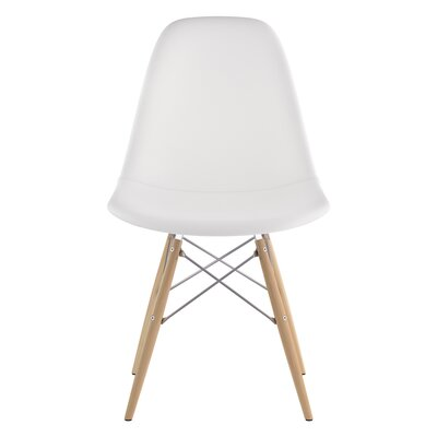 Dowel Side Chair Upholstery: Milano White, Finish: Natural