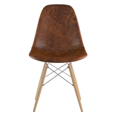 Dowel Genuine Leather Upholstered Dining Chair Upholstery: Weathered Whiskey, Finish: Natural