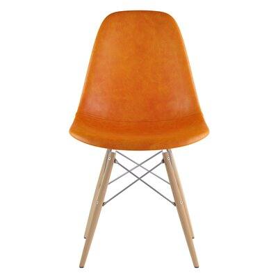 Dowel Side Chair Upholstery: Burnt Orange, Finish: Natural