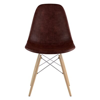 Dowel Genuine Leather Upholstered Dining Chair Upholstery: Aged Cognac, Finish: Natural
