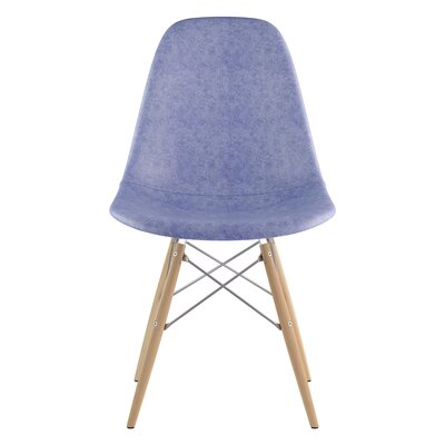 Dowel Genuine Leather Upholstered Dining Chair Upholstery: Weathered Blue, Finish: Natural