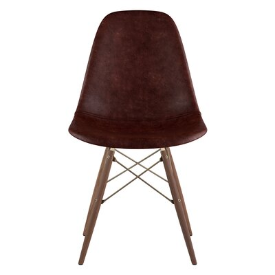 Dowel Genuine Leather Upholstered Dining Chair Upholstery: Aged Cognac, Finish: Walnut