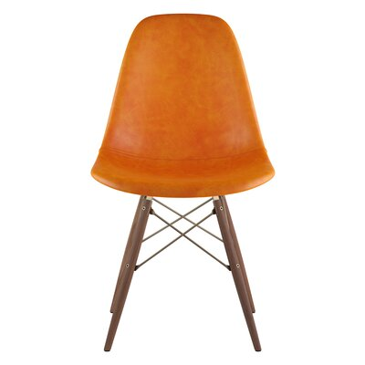 Dowel Genuine Leather Upholstered Dining Chair Upholstery: Burnt Orange, Finish: Walnut