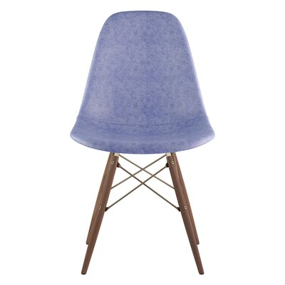 Dowel Genuine Leather Upholstered Dining Chair Upholstery: Weathered Blue, Finish: Walnut